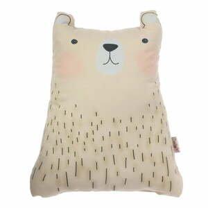 Hnedý detský vankúšik s prímesou bavlny Apolena Pillow Toy Bear Cute, 22 x 30 cm
