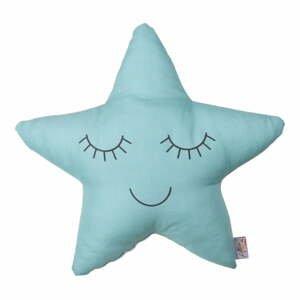 Tyrkysový detský vankúšik s prímesou bavlny Apolena Pillow Toy Star, 35 x 35 cm
