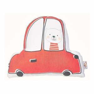 Červený detský vankúšik s prímesou bavlny Apolena Pillow Toy Car, 25 x 30 cm