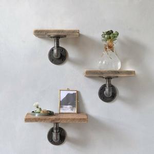 Sada 3 drevených nástenných políc s kovovým potrubím Frida