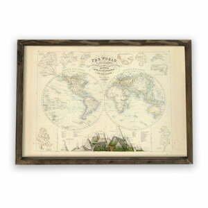 Obraz v drevenom ráme Globe, 70 × 50 cm