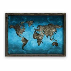 Obraz v drevenom ráme Night World, 70 × 50 cm