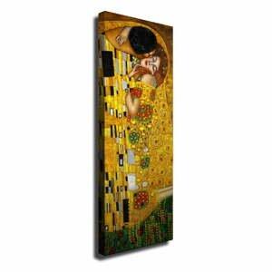 Nástenná reprodukcia na plátne Gustav Klimt The Kiss, 30 × 80 cm