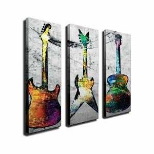 3-dielny nástenný obraz na plátne Guitars