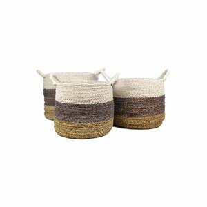 Sada 3 úložných košíkov HSM collection Raffia Natural White
