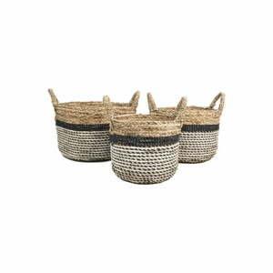 Sada 3 úložných košíkov HSM collection Raffia Natural Gris