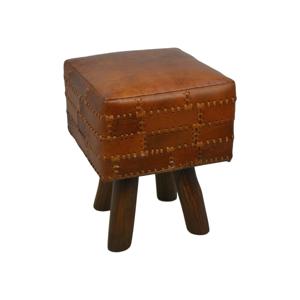 Stolička z hovädzej kože HSM collection Art of Nature Vintage Cognac, 33×45 cm