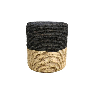 Puf z rafie s čiernym detailom HSM collection Raffia, 36×45 cm