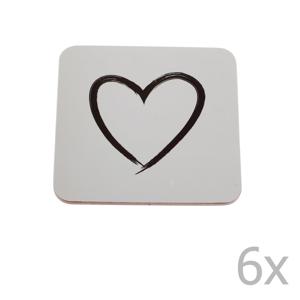 Sada 6 korkových podložiek pod hrnček Dakls Heart