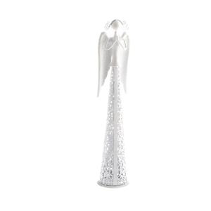 Biela kovová dekorácia v tvare anjela Dakls Angel, výška 39 cm