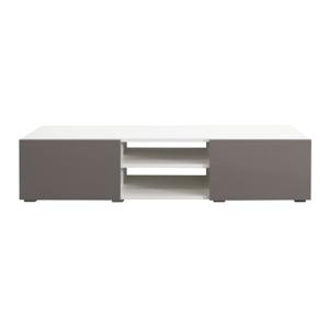 Biely TV stolík so sivobéžovými dvierkami TemaHome Podium