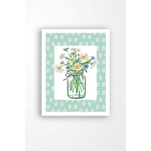 Nástenný obraz na plátne v bielom ráme Tablo Center Cut Flowers, 29 × 24 cm