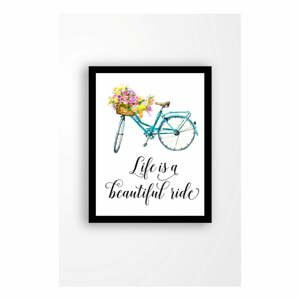 Nástenný obraz na plátne v čiernom ráme Tablo Center Bicycle, 29 × 24 cm