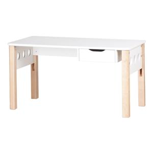 Hnedo-biely písací stôl z brezového dreva s nastaviteľnou výškou Flexa