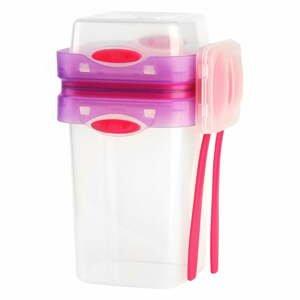 Ružová škatuľka na svačinu a obed s príborom, Vialli Design, 650ml+230m