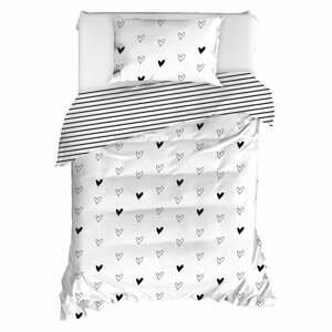 Obliečky na jednolôžko z ranforce bavlny Mijolnir Eveline White, 140 × 200 cm