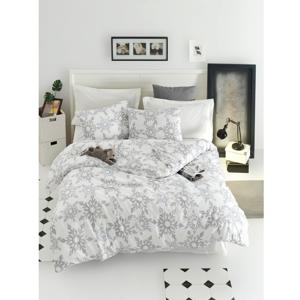Obliečky s plachtou na dvojlôžko z ranforce bavlny Mijolnir Irene White, 200 × 220 cm