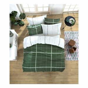Obliečky s plachtou na dvojlôžko z ranforce bavlny Mijolnir Maya Green, 200 × 220 cm