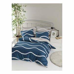Obliečky s plachtou na dvojlôžko z ranforce bavlny Mijolnir Novia Blue, 200 × 220 cm