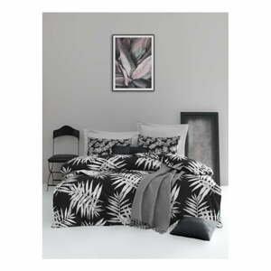 Obliečky s plachtou na dvojlôžko z ranforce bavlny Mijolnir Palmiye Black, 200 × 220 cm