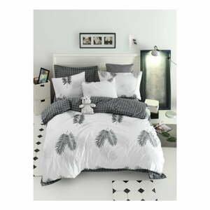 Obliečky s plachtou na dvojlôžko z ranforce bavlny Mijolnir Pipong White & Grey, 200 × 220 cm