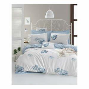Obliečky s plachtou na dvojlôžko z ranforce bavlny Mijolnir Terezie Blue, 200 × 220 cm