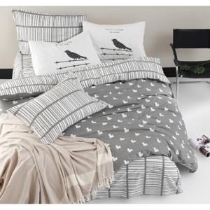 Obliečky s plachtou na dvojlôžko z ranforce bavlny Mijolnir Vektor Grey, 200 × 220 cm
