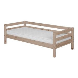 Hnedá detská posteľ z borovicového dreva s bočnou lištou Flexa Classic, 90×200 cm