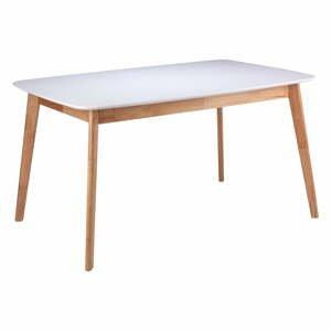 Biely jedálenský stôl s podnožím z kaučukovníkového dreva sømcasa Enma, dĺžka 140 cm