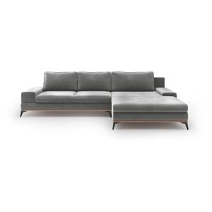 Sivá rozkladacia rohová pohovka so zamatovým poťahom Windsor & Co Sofas Astre, pravý roh