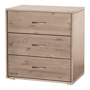 Hnedá detská komoda s 3 zásuvkami z borovicového dreva Flexa Classic