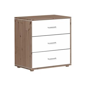Hnedo-biela detská komoda s 3 zásuvkami z borovicového dreva Flexa Classic