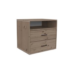 Hnedá detská komoda s 2 zásuvkami z borovicového dreva Flexa Classic