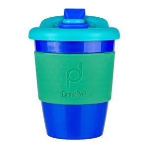 Modro-zelený cestovný hrnček na kávu Drink Pod Kofein, 340 ml