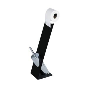 Čierna toaletná kefa s držiakom na toaletný papier Wenko Miramar