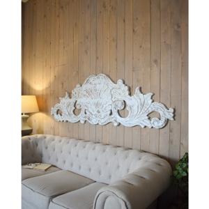 Biele nástenné dekorácie z mangového dreva Orchidea Milano Antique, dĺžka 180 cm