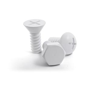 Sada 3 bielych nástenných háčikov Qualy&CO Screw Collection