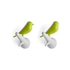 Sada 2 bielo-zelených nástenných vešiakov Qualy&CO Sparrow
