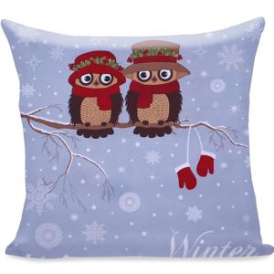 Obliečka na vankúš z mikrovlákna DecoKing Owls Winterstory, 80 × 80 cm