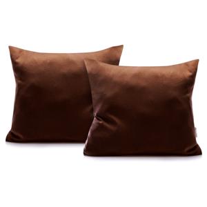 Súprava 2 tmavohnedých bavlnených obliečok na vankúše DecoKing Amber Chocolate, 40 × 40 cm