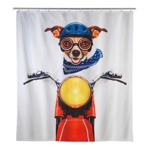 Farebný sprchový záves Wenko Biker Dog, 180 x 200 cm