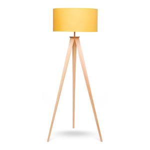 Stojacia lampa s drevenými nohami a žltým tienidlom loomi.design Karol
