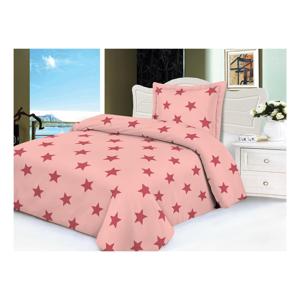 Ružové mikroplyšové obliečky na jednolôžko My House Stars, 140 × 200 cm