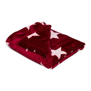 Vínovočervená mikroplyšová deka My House Stars, 150 × 200 cm