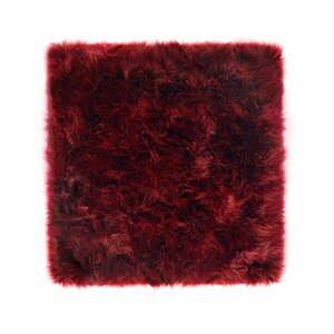 Červený koberec z ovčej kožušiny Royal Dream Zealand, 70 x 70 cm