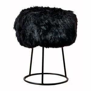 Stolička s čiernym sedadlom z ovčej kožušiny Native Natural, ⌀ 36 cm
