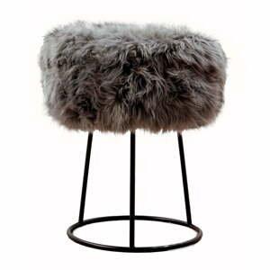 Stolička so sivým sedadlom z ovčej kožušiny Native Natural, ⌀ 36 cm
