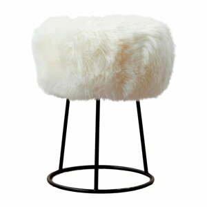 Stolička s bielym sedadlom z ovčej kožušiny Native Natural, ⌀ 36 cm