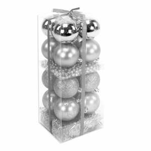 Set 16 vianočných ozdôb a girlandy v striebornej farbe Unimasa Brightness