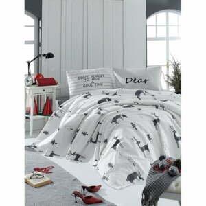 Set bieleho bavlneného plédu, plachty a obliečky na vankúš na dvojlôžko EnLora Home GoodTime White, 160 × 235 cm